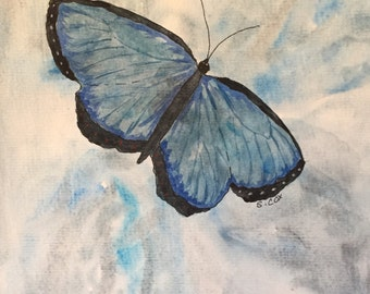 Blue Butterfly painting, Original Watercolor Abstract, Peaceful Blue Butterfly Art, Nature art, home decor or Nursery Art