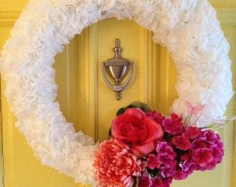 White Coffee filter wreath