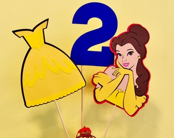 Princess Belle Beauty and the Beast inspired themed Agee Table Topper centerpiece set