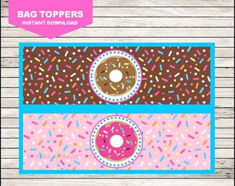 Donut Bags toppers instant download, Donut eat bags toppers, Donut Toppers