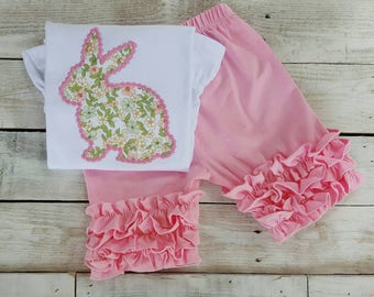 Monogram Easter Shirt w/hair bow outfit, Sample Sale, ruffled embroidered girl bunny shirt, monogram embroidery shirt, baby first Easter