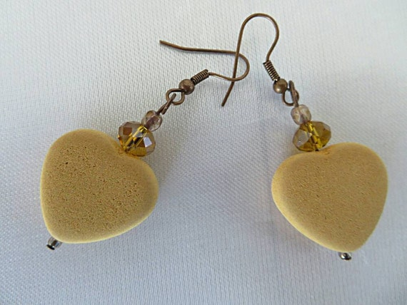 Hearts earrings yellow mustard and copper