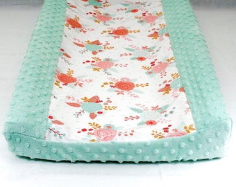 Waterproof Changing Pad Cover / coral gold and mint roses laminated cotton // contour waterproof
