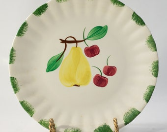 Hand Painted Cherry and Pear Checkered Display Plate - Made in Blue Ridge Mountains - Kitchen Decor