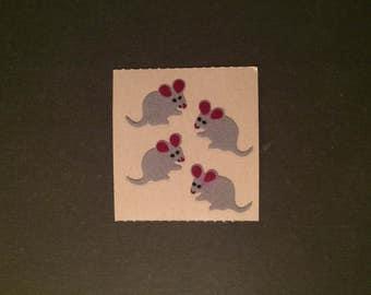 Sandylion vintage 80s very rare fuzzy brown back mice stickers