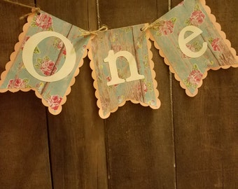 Shabby chic flower highchair banner