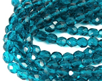 50/pc Viridian Green Czech 6mm Fire-polished Faceted Round Beads