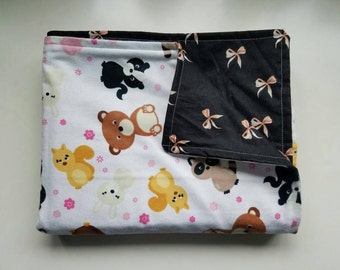 Baby/Toddler Blanket, Baby Animals, Bows, Squirrel, Raccoon, Bears