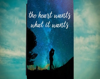 The Heart Wants What It Wants for iPhone 6/6s 7 6/6s Plus 7 Plus Samsung S6 S7 S6 Edge S7 Edge Wallet Cases w FREE Tempered Glass Protector