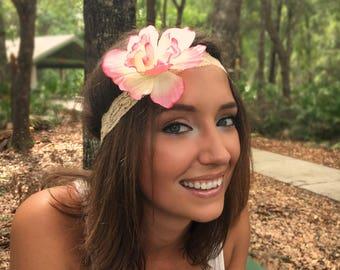 Pink Summer Music Festival Headband, Boho headband, festival hair decoration, stretchy lace hair bands