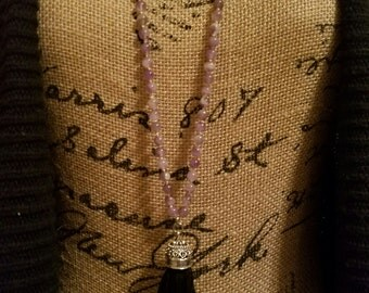 Hand Knotted Amethyst Necklace w/Tassel, Amethyst Beads, Black Silk Tassel, Silver Plated Tassel Crown, Macrame Clasp