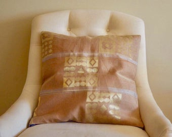 Gold Fever Aso Oke Throw Pillow Covers // 18x18