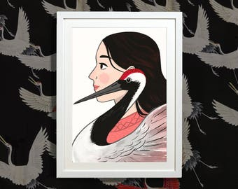 The Crane - Illustrated Art Print portrait inspired by the Japanese Crane