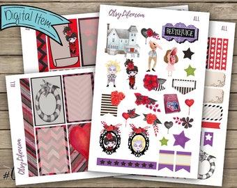 Beetlejuice Printable Planner Stickers - Planner Accessories - Planner Stickers - Creepy Cute - Lydia Deetz - Tim Burton - Stickers