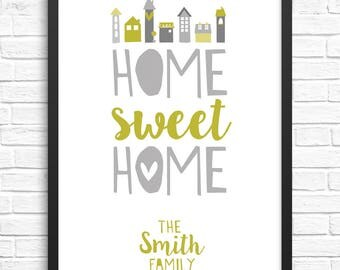 Customisable Personalised Home Sweet Home Print/Keepsake/New Home Gift/Housewarming/Wall Art