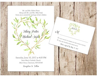 Green Leaf Heart Spring Wedding Invitation & RSVP Set, DIY/Printable