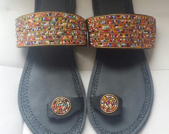 Quality maasai sandals - African sandals - Beaded sandals - Colorful beaded maasai sandals -Women  Sandals