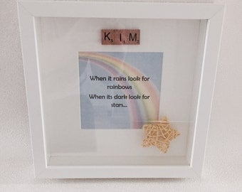 Personalised 'When It Rains Look For Rainbows' Scrabble Print with Frame