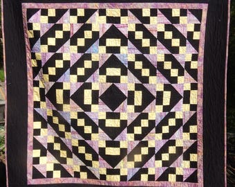 Batik Black and Purple Around The World Patchwork Quilt