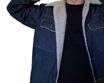 SALE Denim and Sheepskin Vintage Jacket