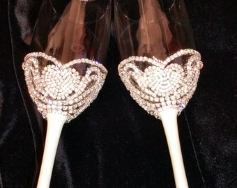 Wedding Champagne Glasses,Toasting Flutes,Glass Crystal Rhinestone,bride & groom