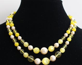 JBN # 10 Vintage Signed Japanese Two-Strand Necklace with Clear, Yellow, and White Beads