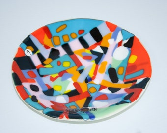 Abstract Fused Glass Bowl