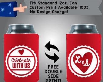 Celebrate With Us Initials Fabric Wedding Can Coolers, Cheap Can Coolers,  Wedding Favors (W248)