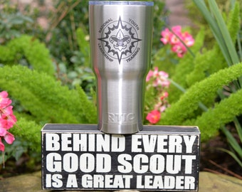 Boy Scout or Cub Scout 30 oz Customized Laser Etched Stainless Steel Yeti or RTIC Tumbler for Troop Pack NYLT or Wood Badge