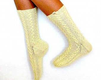 Angora wool socks for women (lace, cable, handmade)