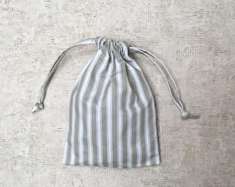 smallbags en toile à matelas satinée à rayures - 3 tailles - sacs coton réutilisables - zéro déchet