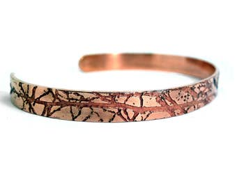5mm Copper Cuff Bracelet | Autumn Branches Bracelet | Etched Copper | Handmade | Gift | Textured Copper | Adjustable Bracelet