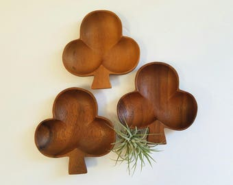 Vintage Set of 3 Wood Club Shaped Bowls