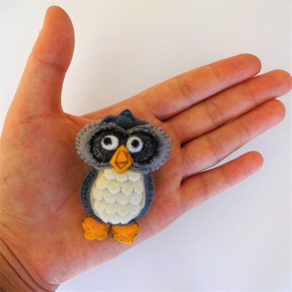 Storm Grey Owl Brooch