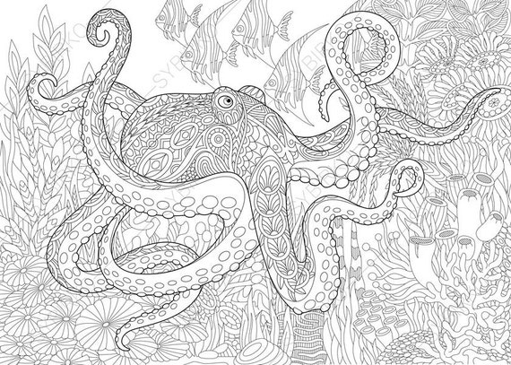 Octopus. 3 Coloring Pages. Animal Coloring Book Pages For Adults. Instant  Download Print