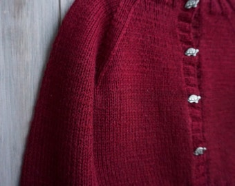 1990s Handknit Burgandy Cardigan with Turtle Buttons - Size 12 months