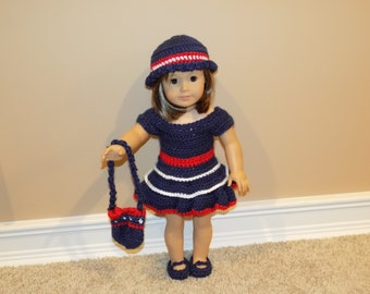 Navy blue doll dress, with hat and purse, Crochet doll clothes, Made in Canada