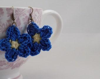 Crochet Flower Earrings, Made in Canada