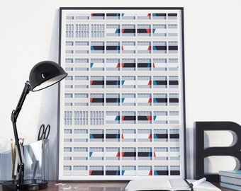Affiche50 x 70 poster graphic design architecture illustration Le Corbusier complete S03