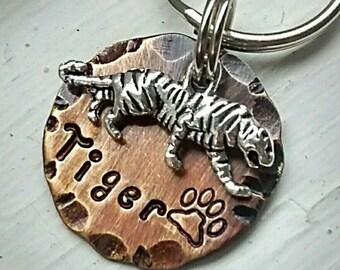 Pet ID - Dog Tag - Pet Accessories - Collar Tag - Pets - Pet Tag - Metal ID - Custom ID Tag - Personalized Pet Tag - Tiger Cat