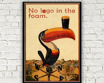 Guiness poster with a Super Hans Peepshow twist from the classic quote on 'no logo in the foam'. Available A4 or A5. Agded look.