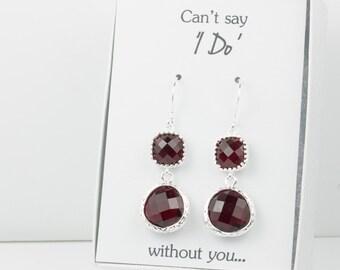 Long Garnet Silver Earrings, January Birthstone Earrings, Red Silver Earrings, Bridesmaid Earrings, Garnet Wedding Jewelry, Bridesmaid Gift