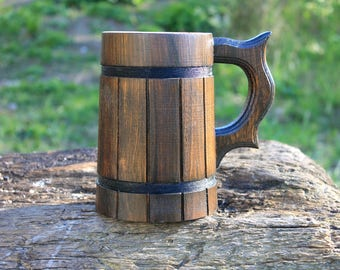 Wood Beer Mug, Tankard, Holz Bierkrug, Groomsman Gift, Wooden Tanakrd, Brown,Capacity: 23 oz (0.7l).