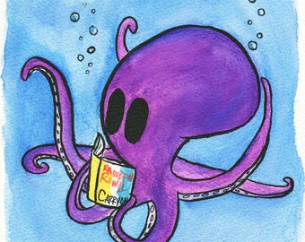 Reading Octopus Watercolor. Art Print. Carry On by Rainbow Rowell. Sea Creature. Book Lover.