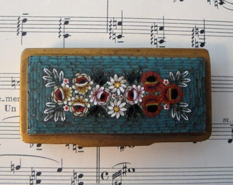 Small Antique Italian Micromosaic Micro Mosaic Box Flowers c1900