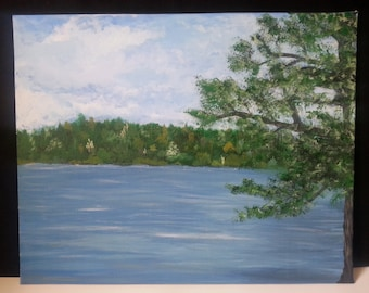 At The River Original Acrylic Painting on Canvas Board 16 x 20