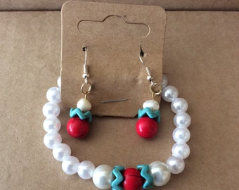 Turquoise and Pearl Earring and Bracelet Set