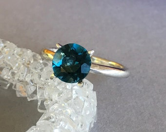 Round Genuine London Blue Topaz Solid Sterling Silver Engagement Ring, London Blue Topaz Sterling Silver Round Promise Solitaire Ring