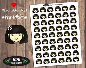Cute Girl Planner Stickers, Brunette Printable Planner Stickers, Kawaii Girl, Flower Girl Stickers, Dark Hair, Erin Condren, Functional