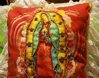 Virgin Mary, Virgen de Guadalupe, Red with Pale Pink Lace